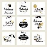 Σύνολο καρτών φθινοπώρου Στοκ Εικόνες