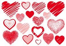 σύνολο καρδιών σχεδίων Στοκ Εικόνες