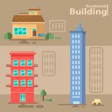 Σύνολο κατοικημένου κτηρίου διάνυσμα κτηρίων διανυσματική απεικόνιση