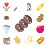 Σύνολο καφέ, μέλι, Pretzel, φρυγανιά, αλεύρι, ρόδι, χρώμιο πάγου ελεύθερη απεικόνιση δικαιώματος