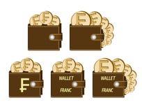 Σύνολο καφετιών πορτοφολιών με τα νομίσματα φράγκων Στοκ Εικόνες