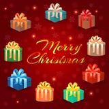 Σύνολο κιβωτίων δώρων διακοπών στις συσκευασίες διακοπών με τα bowknots στη Χαρούμενα Χριστούγεννα που γράφουν το υπόβαθρο ελεύθερη απεικόνιση δικαιώματος