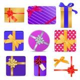 Σύνολο κιβωτίων δώρων με τις κορδέλλες και τα τόξα Στοκ Εικόνα