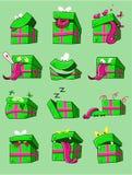 Σύνολο κιβωτίων δώρων emoji χρώματος Η διανυσματική απεικόνιση για δημιουργεί το αρχικό γραφικό σχέδιο Στοκ εικόνα με δικαίωμα ελεύθερης χρήσης