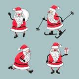 Σύνολο κινούμενων σχεδίων Άγιος Βασίλης watercolor Συλλογή Χριστουγέννων απεικόνιση αποθεμάτων