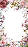 Σύνολο κλάδων λουλουδιών Ρόδινος αυξήθηκε λουλούδι, πράσινα φύλλα, κόκκινα Γαμήλια έννοια με τα λουλούδια Floral αφίσα, πρόσκληση στοκ εικόνες