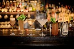 Σύνολο κλασικών κοκτέιλ: Βρώμικο Martini, υποδηματοποιός της Sherry, κονιάκ Crusta, Μαργαρίτα, κυνόδοντας Cobras και Tom Collins στοκ εικόνες