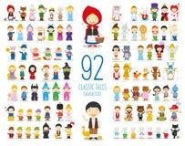 Σύνολο 92 κλασικών χαρακτήρων ιστοριών στο ύφος κινούμενων σχεδίων διανυσματική απεικόνιση