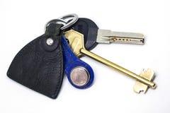 Σύνολο κλειδιών με το δέρμα keychain Στοκ Φωτογραφίες