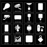 Σύνολο κλειδωμένος, βούλωμα, έξυπνο σπίτι, δροσερό, κινητό τηλέφωνο, κλειδί, CCTV, διανυσματική απεικόνιση