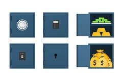 Σύνολο κλειστού και ανοιγμένου χρηματοκιβωτίου ελεύθερη απεικόνιση δικαιώματος