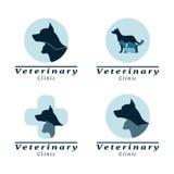 Σύνολο κλινικής κτηνιάτρων λογότυπων Στοκ Εικόνες
