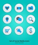 Σύνολο κοινωνικού σχεδίου κουμπιών μέσων, διανυσματική απεικόνιση, κύκλος Στοκ φωτογραφίες με δικαίωμα ελεύθερης χρήσης