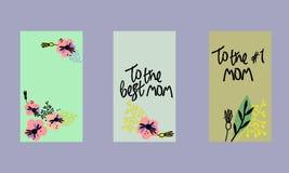 Σύνολο κοινωνικών προτύπων ιστοριών μέσων Floral υπόβαθρο στο Σκανδιναβικό ύφος Χέρι-γραμμένοι χαιρετισμοί ημέρας μητέρων ελεύθερη απεικόνιση δικαιώματος