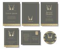 Σύνολο κομψής χρυσής κάρτας γαμήλιας πρόσκλησης Χρυσό ύφος ελαφόκερων στοκ φωτογραφίες με δικαίωμα ελεύθερης χρήσης