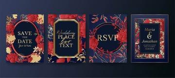 Σύνολο κομψού φυλλάδιου, κάρτα, υπόβαθρο, κάλυψη, γαμήλια πρόσκληση Floral ρυθμίσεις η ημερομηνία σώζει διανυσματική απεικόνιση