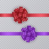 Σύνολο κορδελλών δώρων με το ρεαλιστικό τόξο κόκκινος και πορφυρός Στοιχείο δώρων για το σχέδιο καρτών background colors holiday  Στοκ Εικόνες