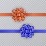 Σύνολο κορδελλών δώρων με το ρεαλιστικό τόξο του μπλε και πορτοκαλιού χρώματος Στοιχείο δώρων για το σχέδιο καρτών background col Στοκ Εικόνες