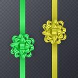 Σύνολο κορδελλών δώρων με το ρεαλιστικό τόξο του πράσινου και κίτρινου χρώματος Στοιχείο δώρων για το σχέδιο καρτών background co Στοκ Εικόνες
