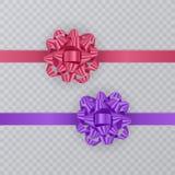 Σύνολο κορδελλών δώρων με το ρεαλιστικό τόξο του ροζ και της πορφύρας Στοιχείο δώρων για το σχέδιο καρτών background colors holid Στοκ φωτογραφίες με δικαίωμα ελεύθερης χρήσης