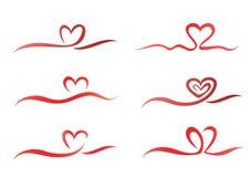 Σύνολο κορδελλών καρδιών Στοκ Φωτογραφία