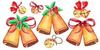 Σύνολο κουδουνιών Χριστουγέννων που απομονώνεται στο άσπρο υπόβαθρο διανυσματική απεικόνιση