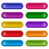 Σύνολο κουμπιών Ιστού με τα βέλη, ζωηρόχρωμα μακριά στρογγυλά κουμπιά r διανυσματική απεικόνιση