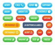 Σύνολο κουμπιών και ετικετών για τον ιστοχώρο ή διακόσμηση App και των προϊόντων και των ενεργειών ελεύθερη απεικόνιση δικαιώματος