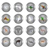 Σύνολο κουμπιών μετάλλων για τον Ιστό, κύκλος, με τις εικόνες των ζώων Στοκ Φωτογραφία