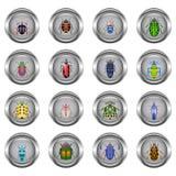 Σύνολο κουμπιών μετάλλων για τον Ιστό, κύκλος, με τις εικόνες των κανθάρων Στοκ Εικόνες