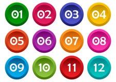 Σύνολο κουμπιών με τους αριθμούς από 01 έως 12 Διανυσματικό illustrati διανυσματική απεικόνιση