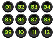 Σύνολο κουμπιών με τους αριθμούς από 01 έως 12 r διανυσματική απεικόνιση