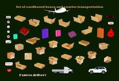 Σύνολο κουτιών από χαρτόνι και μεταφοράς αγγελιαφόρων απεικόνιση αποθεμάτων
