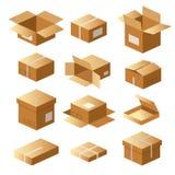 Σύνολο κουτιών από χαρτόνι, συσκευασία χαρτοκιβωτίων, παράδοση ναυτιλίας, φορτίο, δέμα απεικόνιση αποθεμάτων