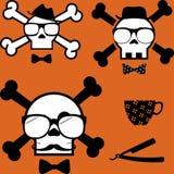 Σύνολο κρανίων κινούμενων σχεδίων ύφους Hipster ελεύθερη απεικόνιση δικαιώματος