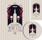 Σύνολο κρασιού στοιχείων για το σχέδιο του εστιατορίου Στοκ Φωτογραφία