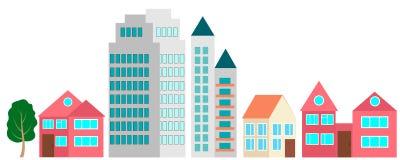 Σύνολο κτηρίων για το σχέδιο η πόλη σας ελεύθερη απεικόνιση δικαιώματος