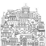 Σύνολο κτηρίων, σπιτιών και οδών πόλεων Μαύρη απεικόνιση περιγράμματος στο άσπρο υπόβαθρο Στοκ Εικόνα