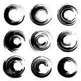 Σύνολο κυκλικών σημείων μελανιού Μαύροι κατασκευασμένοι λεκέδες χρωμάτων ελεύθερη απεικόνιση δικαιώματος
