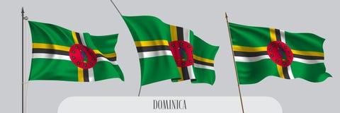 Σύνολο κυματίζοντας σημαίας της Δομίνικας στην απομονωμένη διανυσματική απεικόνιση υποβάθρου ελεύθερη απεικόνιση δικαιώματος