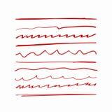 Σύνολο κυρτών γραμμών που σύρονται με το χέρι Διαφορετικός υπογραμμίζει Σκίτσο, doodle, κακογραφία απεικόνιση αποθεμάτων