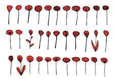 Σύνολο κόκκινων και μαύρων στοιχείων απεικόνιση αποθεμάτων