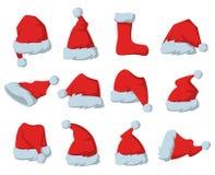 Σύνολο κόκκινων καπέλων Άγιου Βασίλη στο άσπρο υπόβαθρο διανυσματική απεικόνιση