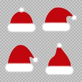 Σύνολο κόκκινων καπέλων Χριστουγέννων Καπέλα Άγιος Βασίλης Chrismat διανυσματική απεικόνιση