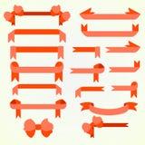 Σύνολο κόκκινων κορδελλών για τη διακόσμηση Στοκ Εικόνα