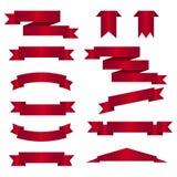 Σύνολο κόκκινων κορδελλών στο άσπρο υπόβαθρο επίσης corel σύρετε το διάνυσμα απεικόνισης Στοκ Εικόνες