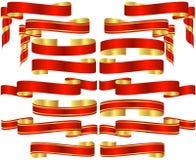 Σύνολο κόκκινων κυλίνδρων εμβλημάτων Στοκ εικόνα με δικαίωμα ελεύθερης χρήσης
