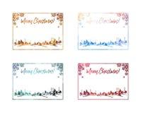 Σύνολο λαμπιρίζοντας πλαισίων σκιαγραφιών με το χειμερινό χωριό και τη χαιρετώντας Χαρούμενα Χριστούγεννα ` κειμένων ` Στοκ Εικόνα