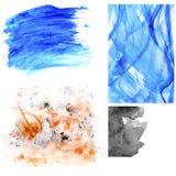 Σύνολο λεκέδων watercolor και κτυπημάτων βουρτσών Στοκ Φωτογραφίες