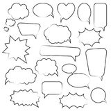 Σύνολο λεκτικών φυσαλίδων κινούμενων σχεδίων doodle Πρότυπο για τη διαφήμιση, comics, σχέδιο Ιστού, εκτύπωση Στοκ Εικόνες